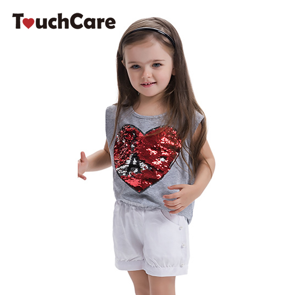New Girls Cotton Sleeveless T-Shirt Summer Children Clothing Heart Shape Sequins Tops Hollow Back Clothes Kids T-shirt for 3-7Y 2017 new summer toddler kids girls sleeveless t shirt dress children girls elegant lace dresses light blue dress for 3 7y
