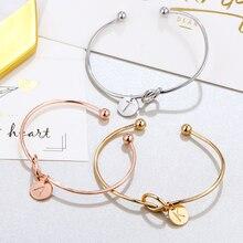26 букв золотое сердечко серебряного цвета браслет для девушек модные ювелирные изделия сплав круглый кулон цепь и звено женский браслет