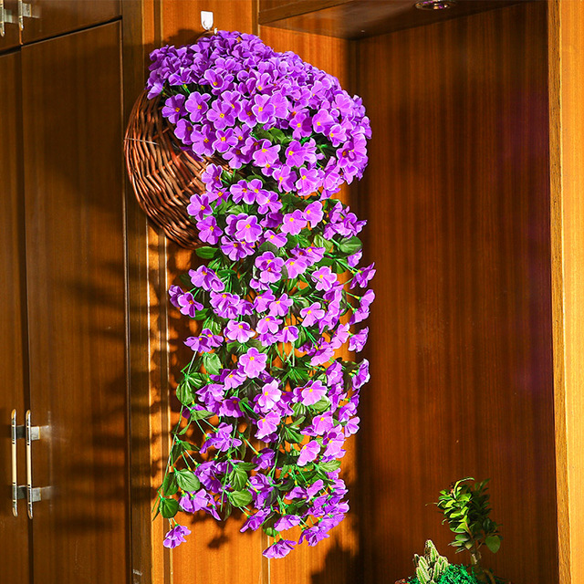 denisfen artificial flowers violet vine wall hanging rattan silk flower living room hotel home decoration afv1620