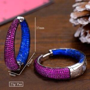 Image 5 - GODKI 37mm Trendy Large Hoop Earrings Big Circle Earrings Cubic Zircon Brincos Celebrity Brand Loop Earrings for Women Jewelry