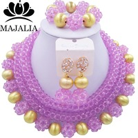 Fashion Trendy Nigeria Wedding african beads jewelry set Lilac Crystal necklace Bridal Jewelry Sets Free shipping LM 131