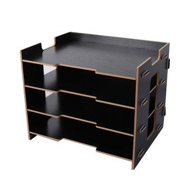 Деревянный держатель для журналов, экологичный держатель для файлов, Настольные принадлежности, органайзер, папка для файлов, стеллажи, коробка для хранения - Цвет: Черный