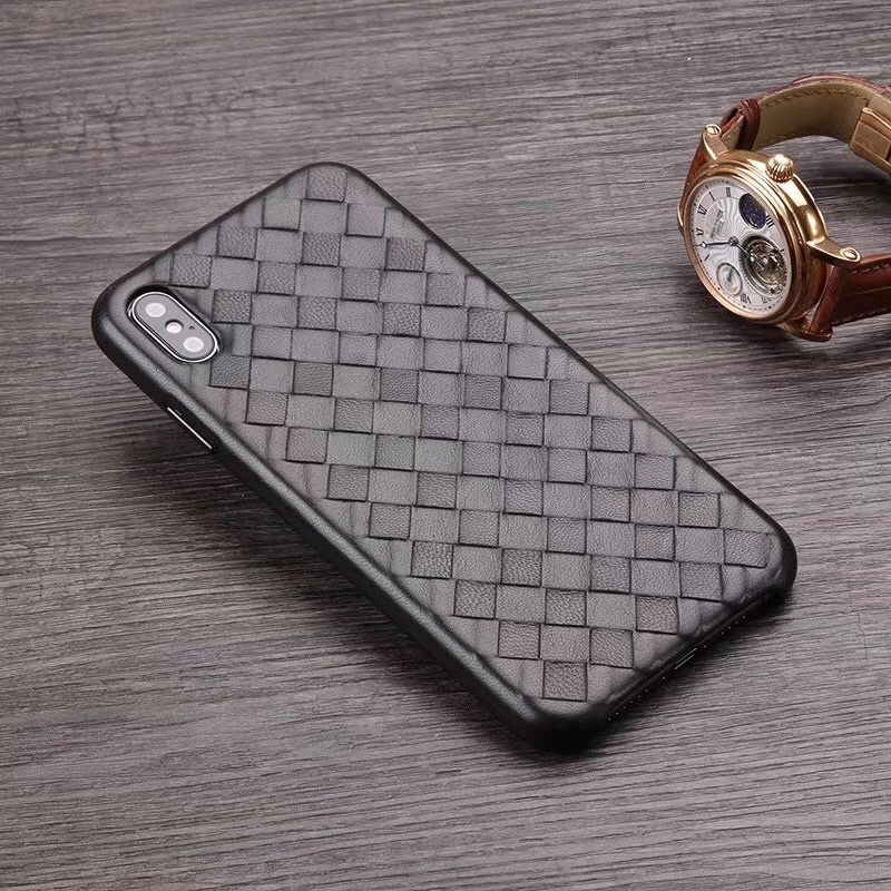 Image 2 - Fashion Woven Pattern Genuine Leather Case For iPhone XS MAX/ XS/ X/ XR Original Phone Cover For iPhone 11 Pro XS MAX Back CaseFitted Cases   -