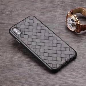 Image 2 - الأزياء المنسوجة نمط جلد طبيعي حالة ل فون XS ماكس/XS/ X/ XR الأصلي الهاتف غطاء ل فون 11 برو XS ماكس عودة حالة