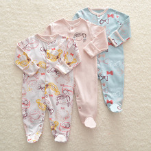 Baby Rompers Sets Infant Long Sleeve Pajamas Spring/autumn Newborn Clothes Pink Flower Print Baby Girl/boy Romper Sleepsuit