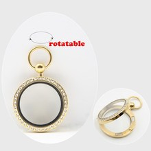 New Arrival! pocket watch design! 30mm magnetic closure gold 316L stainless steel floating charm locket with czech crystals