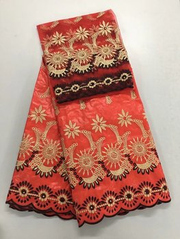 Bazin Riche Fabric Embroidered 5 Yards African Net Lace Fabric 2 Yards High Quality Red Bazin Riche Getzner For Women Dresses