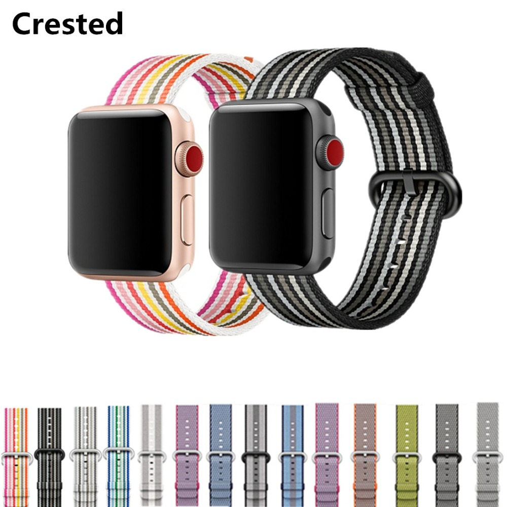 CRESTED Woven Nylon band For Apple Watch 3 42mm 38mm iwatch series 3 2 1 nylon wrist watchband bracelet fabric-like feel belt