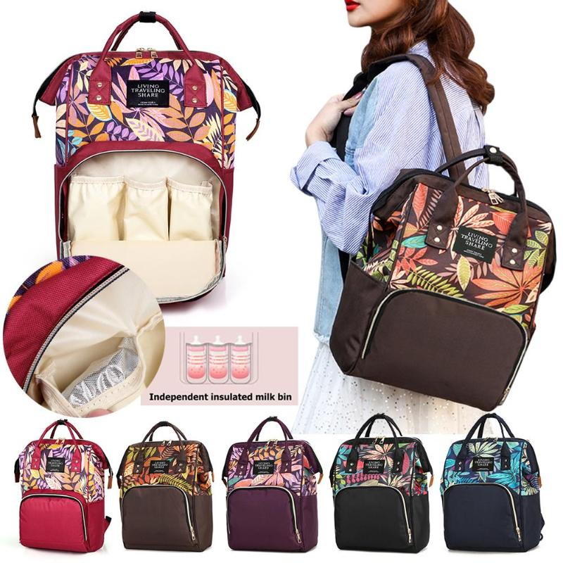 HTB1cuuHSQvoK1RjSZFwq6AiCFXaq Large capacity Mummy Maternity Travel Backpacks Nylon Plant Print 2019 Stylish Baby Diaper Shoulder Bags Daily Casual Travel New