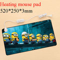 Heating mouse pad with large size 520*250*3mm, cartoon printings and US plug for laptop desktop computer