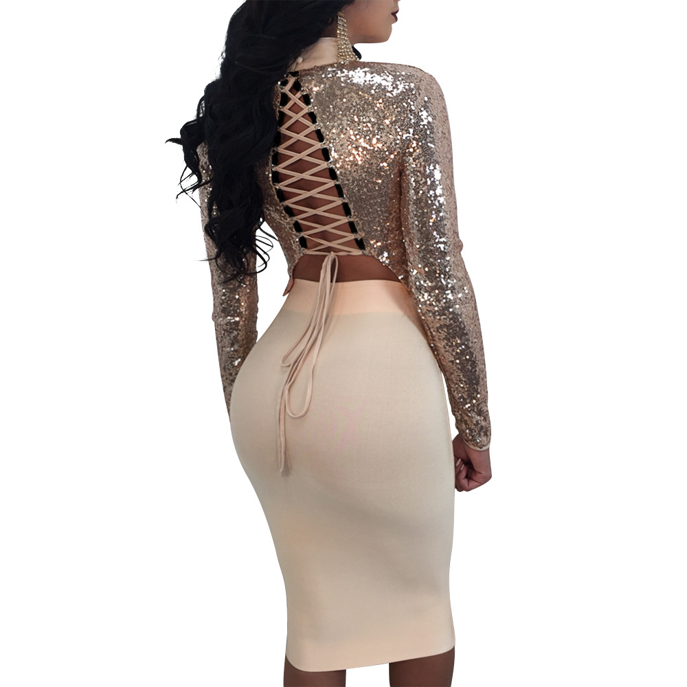 43bfd1cfa8 Women Two Piece Outfits Summer Amazon Sexy Sequins Crop Top And Skirt Set 2 Piece  Set Womens Suits Set Conjunto Feminino Saia-in Women's Sets from Women's ...