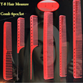 Hair Measure Comb With Laser Scale For Haircut, 6 pcs red Resin Material Hairdressing Comb Y-80 In Durable Design Good Quality