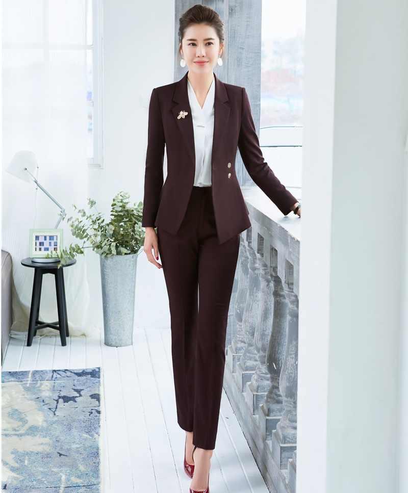 2a7fc56f4592 2019 Primavera Verano Formal elegante traje de pantalón de mujer para damas  trajes de negocios Blazer