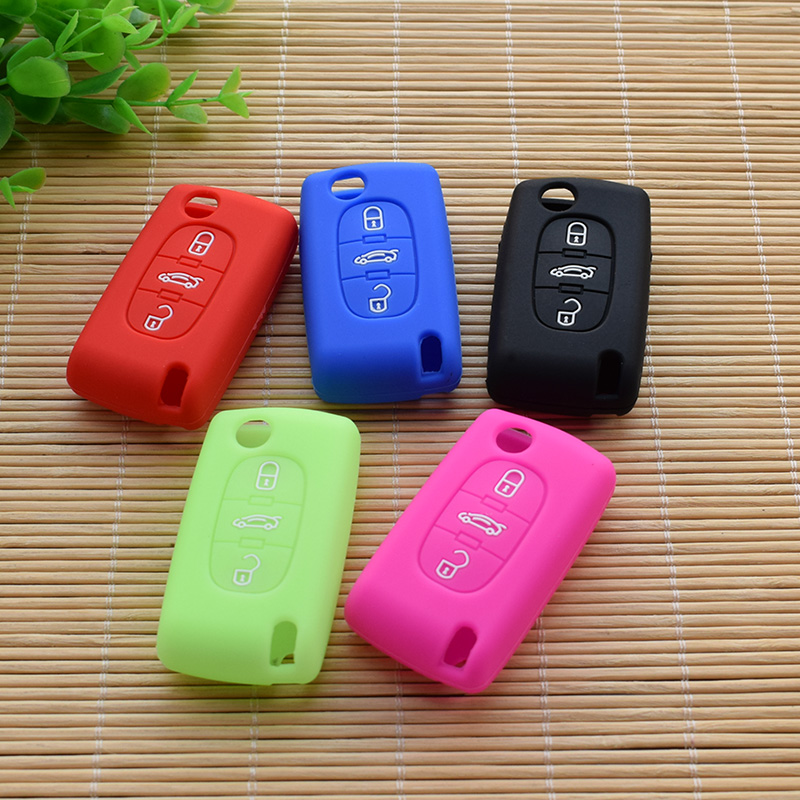 Car folding 3 Buttons <font><b>key</b></font> Silicone Cover set Fob stickers for <font><b>Peugeot</b></font> <font><b>208</b></font> 207 3008 308 408 407 307 Rubber protector shell <font><b>remote</b></font> image