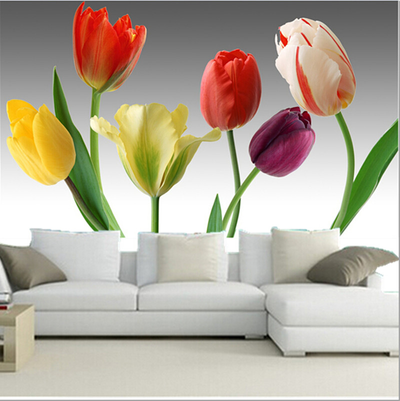 The custom 3D murals,3D six gorgeous tulips papel de parede,living room sofa TV wall  bedroom wallpaper photo tapets custom 3d wallpaper mural chinese style flower and bird wallpaper restaurant living room bedroom sofa tv wall papel de parede