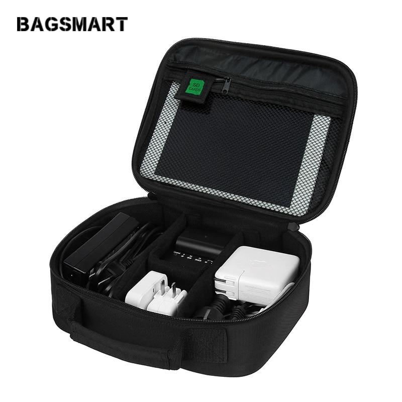 BAGSMART الملحقات الإلكترونية المنظمون حقيبة لسماعات بيانات الكابلات USB باد الهاتف الخليوي شاحن إلكترونيات السفر المنظم