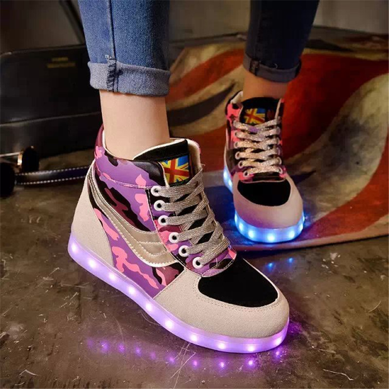 2017 New Kids Boys Girls USB Charger Led Light Shoes High Top Luminous Sneakers casual Lace Up Shoes Unisex Sports for children ladies plus size 34 46 12 colors lace up designer led board shoes light up luminous zapatillas usb charger high top party boots