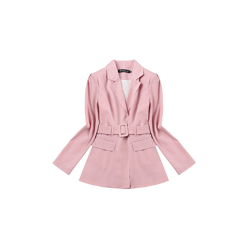 2019 Spring New Smoke Pink Small Suit Pleated Fashion Hundred Sashes Notched Hidden Breasted Women Jackets And Coats Suit Women