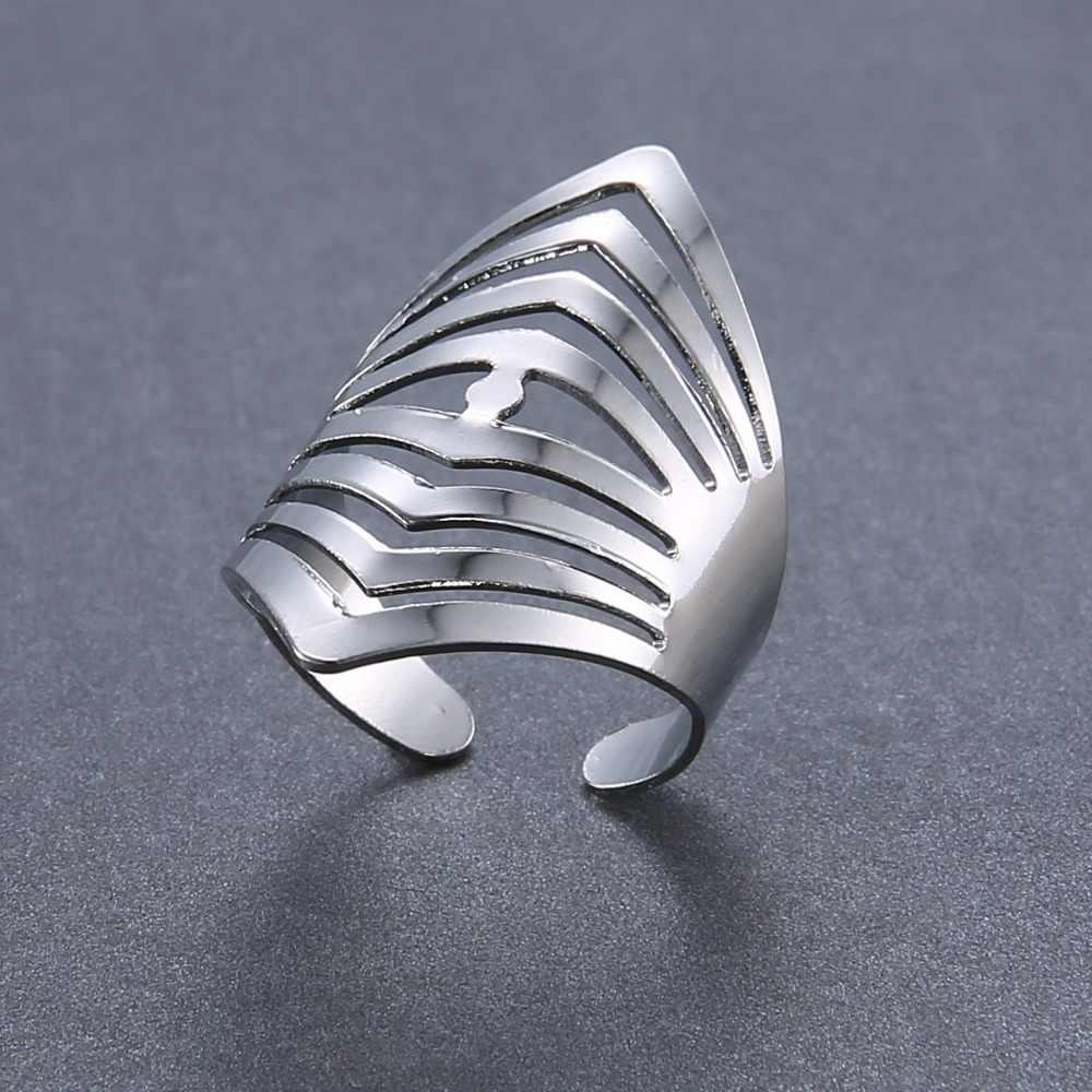 Rinhoo Adjustable Kerawang Bergaris Bunga Berbentuk Hati Geometris Terbuka Cincin Stainless Steel Pesta Wanita Perhiasan Cincin
