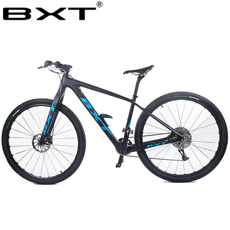 BXT 29 pulgadas de fibra de carbono bicicleta de montaña 1*11 velocidad freno de disco doble 29 MTB hombres bicicleta 29er rueda S/M/L marco bicicleta completa