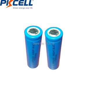Image 1 - 2pcs PKCELL AA 14500 3.2v lifepo4 Rechargeable Battery Lithium ion batteries Cell 600MAH IFR14500 for Camera Solar Led Light