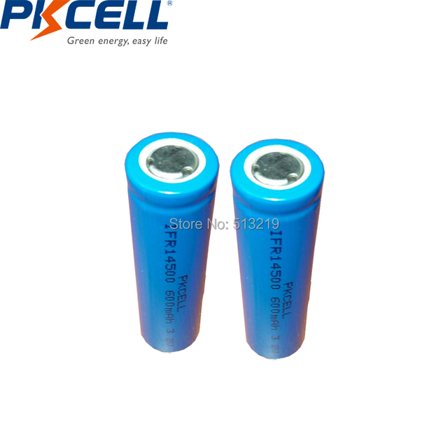 2pcs PKCELL AA 14500 3.2v lifepo4 Rechargeable Battery Lithium ion batteries Cell 600MAH IFR14500 for Camera Solar Led Light