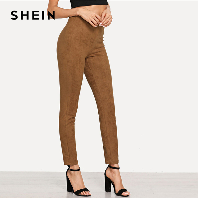 SHEIN Brown Elegant Office Lady Solid Suede Skinny Leggings 2018 Autumn Highstreet Workwear Women Pants Trousers 3