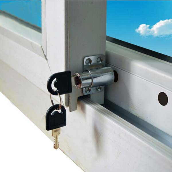 Free shipping 10PCS sliding window lock with key child safety protection lock anti theft door lock
