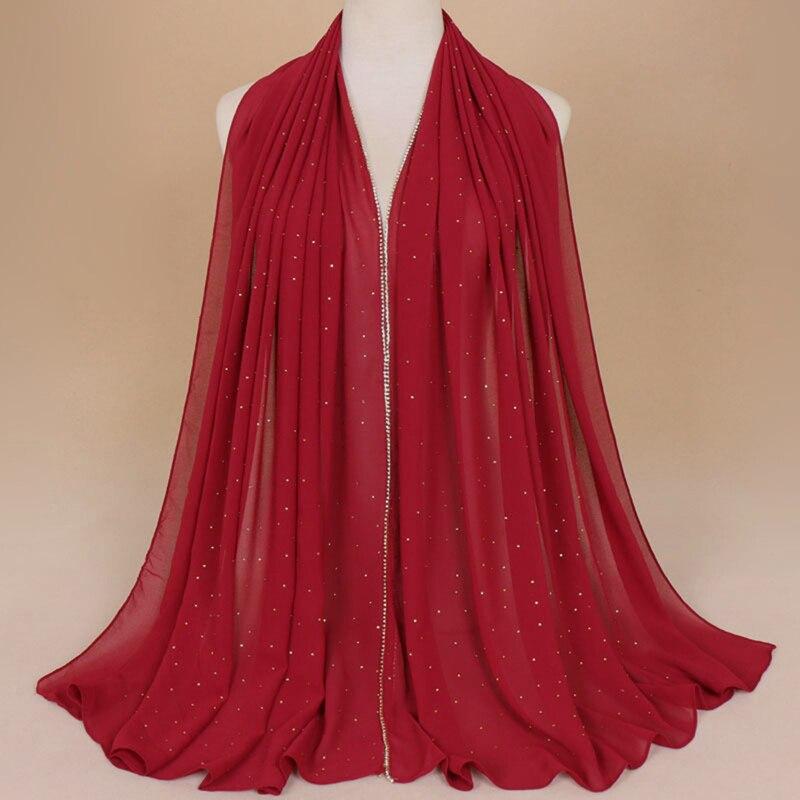 Muslim Hijab Headband Chiffon Diamond Glitter   Scarves   Fashion   Scarf     Wraps   Shawls Autumn Long Soft   Scarves