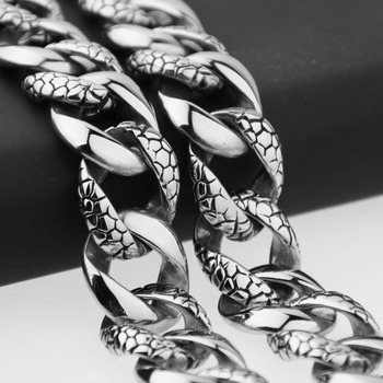 """18mm New Arrive 316L Stainless Steel Silver Snake Pattern Cut Cuban Curb Link Chain Men's Necklace Jewelry 22.5"""" High Quality"""