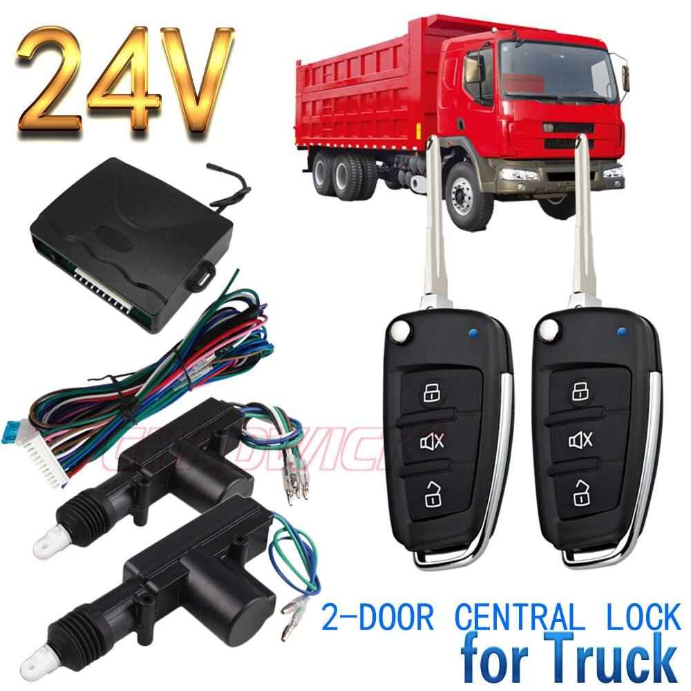 Système d'entrée sans clé de véhicule pour voiture de camion 15 # clé FLIP droite 24 V télécommande 2 portes serrure de porte centrale verrouillage CHADWICK 8118