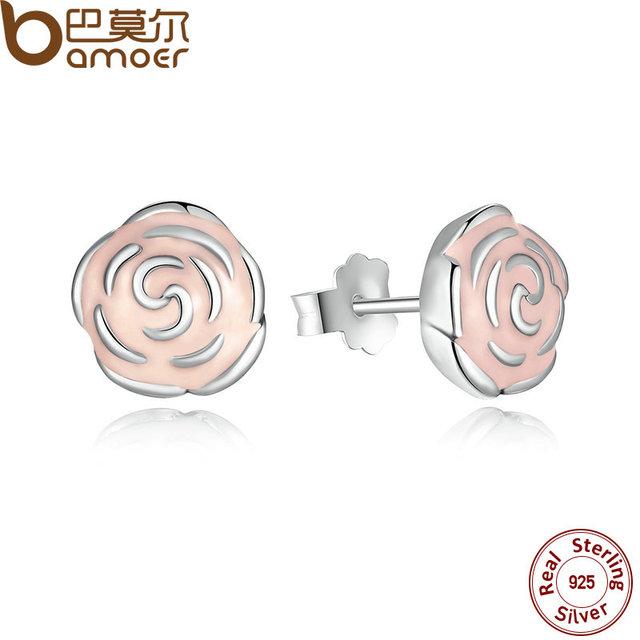 Sterling Silver Rose Petal Garden Stud Earrings