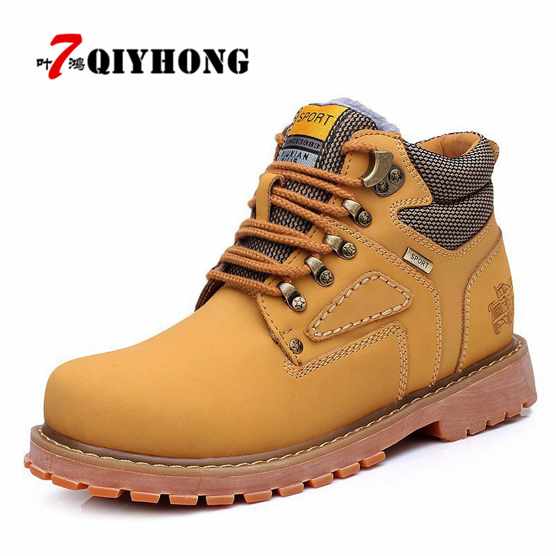 New Autumn Winter Men 'S Tooling Boots Leather Rivets Boots Martin Boots Casual Men' S Shoes Plus Size 38-44 QIYHONG Brand harppihop new men s 100