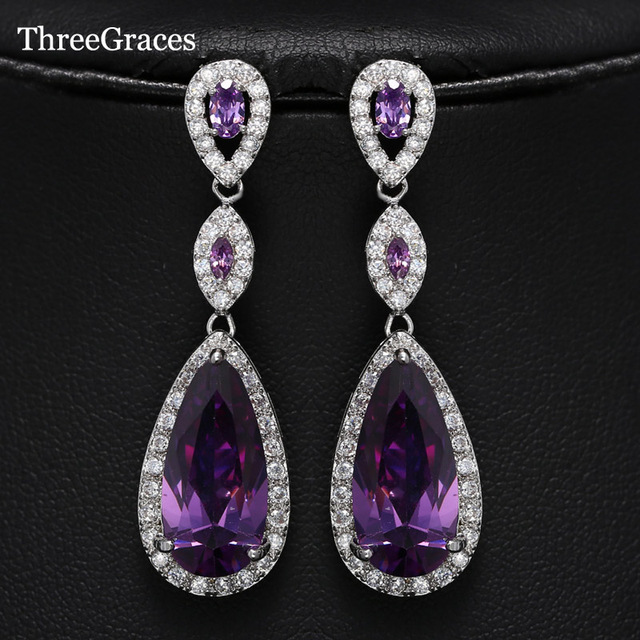 Threegraces White Gold Color Peardrop Long Purple Cubic Zircon Stones Drop Earrings For Women Wedding
