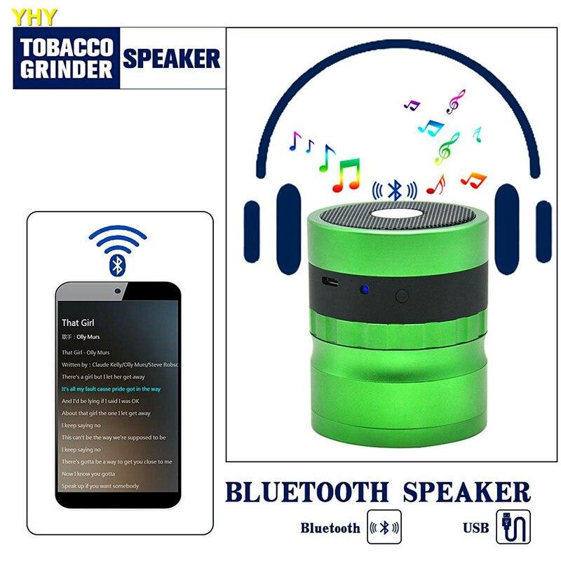 Bluetooth измельчители 62 мм металлический Травяной измельчитель для табака Точильщик динамик 2 в 1 Креативные аксессуары для шлифовальных станков GGA995