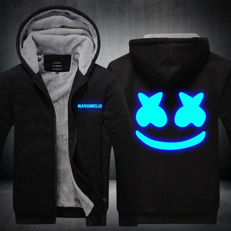 Cap & Maschera come Regali di spessore inverno luminoso glow in dark Marshmello felpe con cappuccio delle donne degli uomini di hip hop Rapper DJ ballerino giacca con cappuccio del cappotto