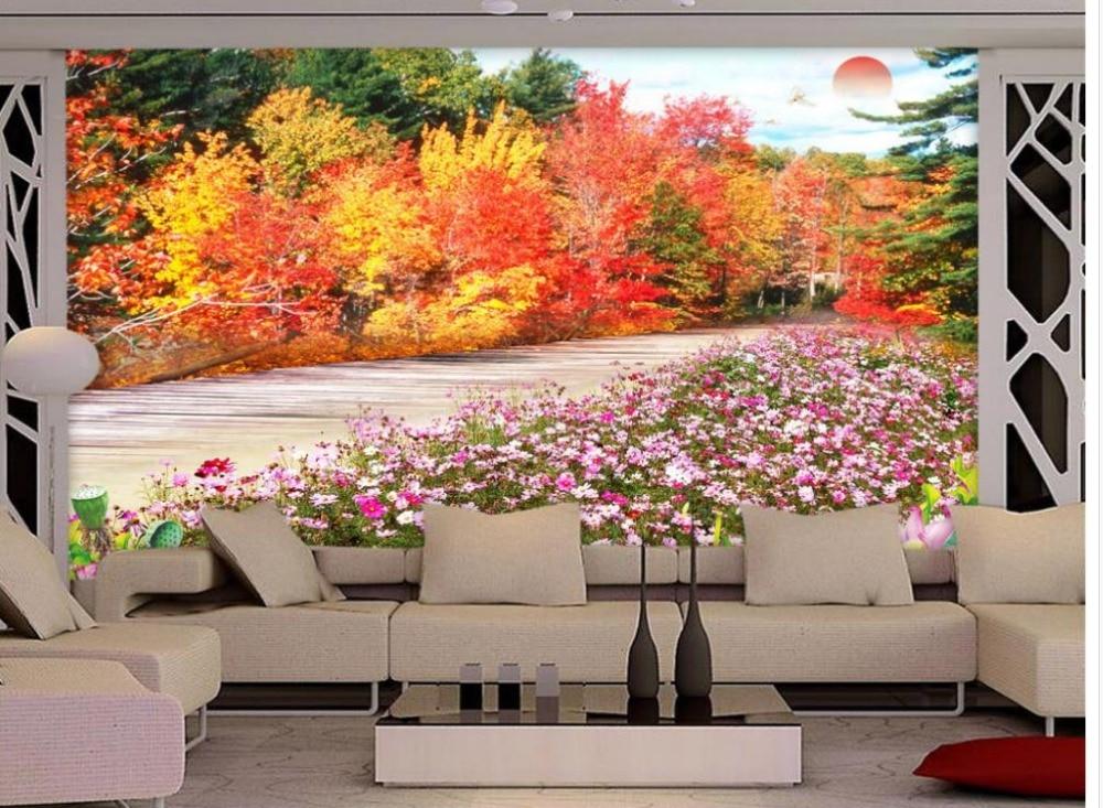 Dipinti Per Soggiorno : Sfondi per il soggiorno paesaggio fiore di loto tramonto mural d