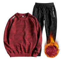 red blue Plus size L 7xl 8xl men casual Wool Liner Hoodies loose large size fat o neck long sleeve sweatshirt sets two piece