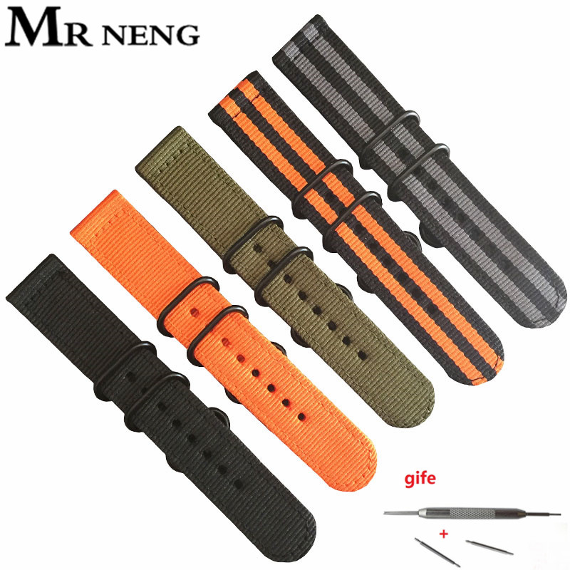 MR NENG Watch Band 18 20 22 24mm Watchbands Black Army Green For ZULU Nato Nylon Canvas Watch Strap 3 Ring Black Silver Buckle wholesale suunto core nylon diver strap band kit w lugs adapters armygreen 5 colours 24mm zulu nato watchbands