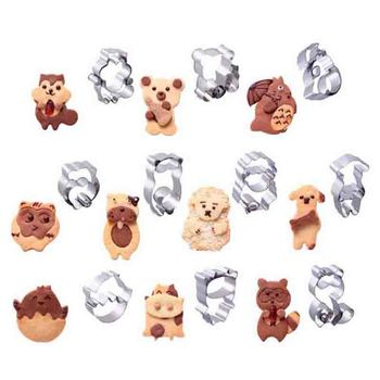 Combined Animal Cookie Cutters Stainless Steel Cute Candy Shape Biscuit Mold DIY Fondant Pastry Decorating Baking Tools