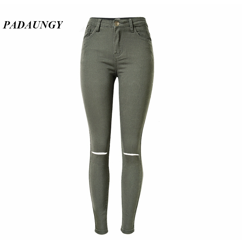 PADAUNGY High Waist Torn Jeans Ripped Jeggings Ankle Holes Army Green  Pencil Trousers Jardineira Feminina Slim - Popular Green Skinny Jeggings-Buy Cheap Green Skinny Jeggings Lots
