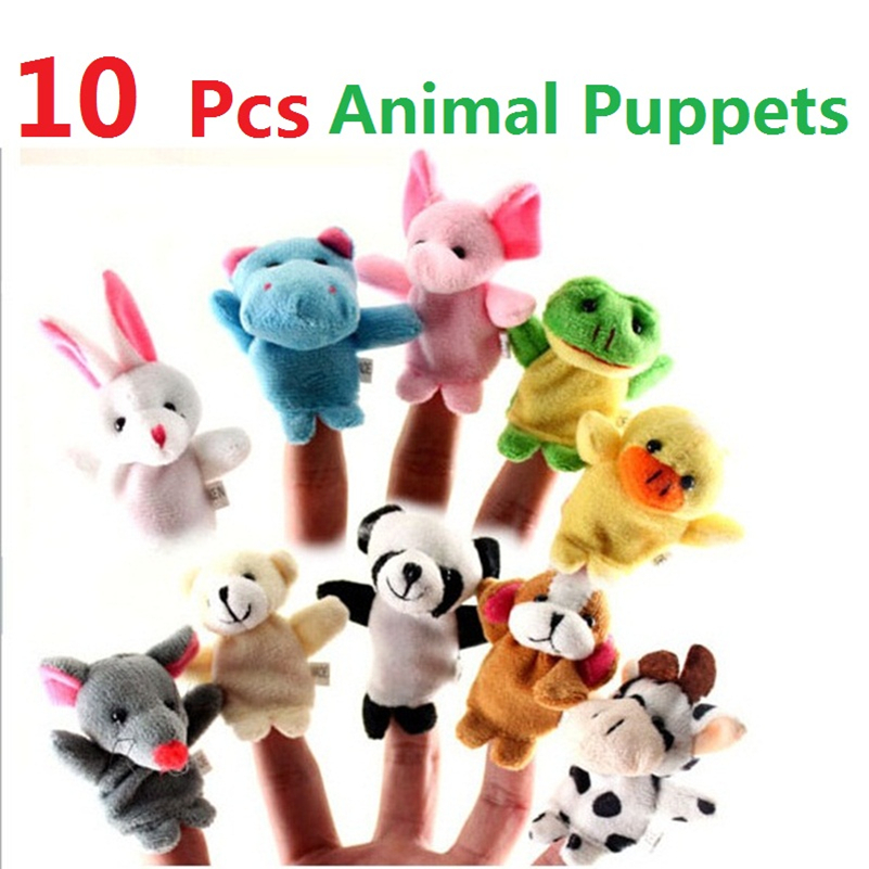 HOT Sales 10pcs Cute Cartoon Biological Animal Finger Puppet Plush Toys Child Baby Favor Dolls for Gift