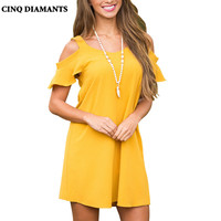 CINQ DIAMANTS Summer Yellow Dress Women Sundress High Quality Clothing Bandage Dress Wholesale Cheap Femme Robe