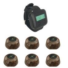 JINGLE BELLS 6 Кнопка вызова+ 1 часы пейджер Беспроводная система вызова s для ресторанов кнопка вызова официанта Отель Система вызова официанта