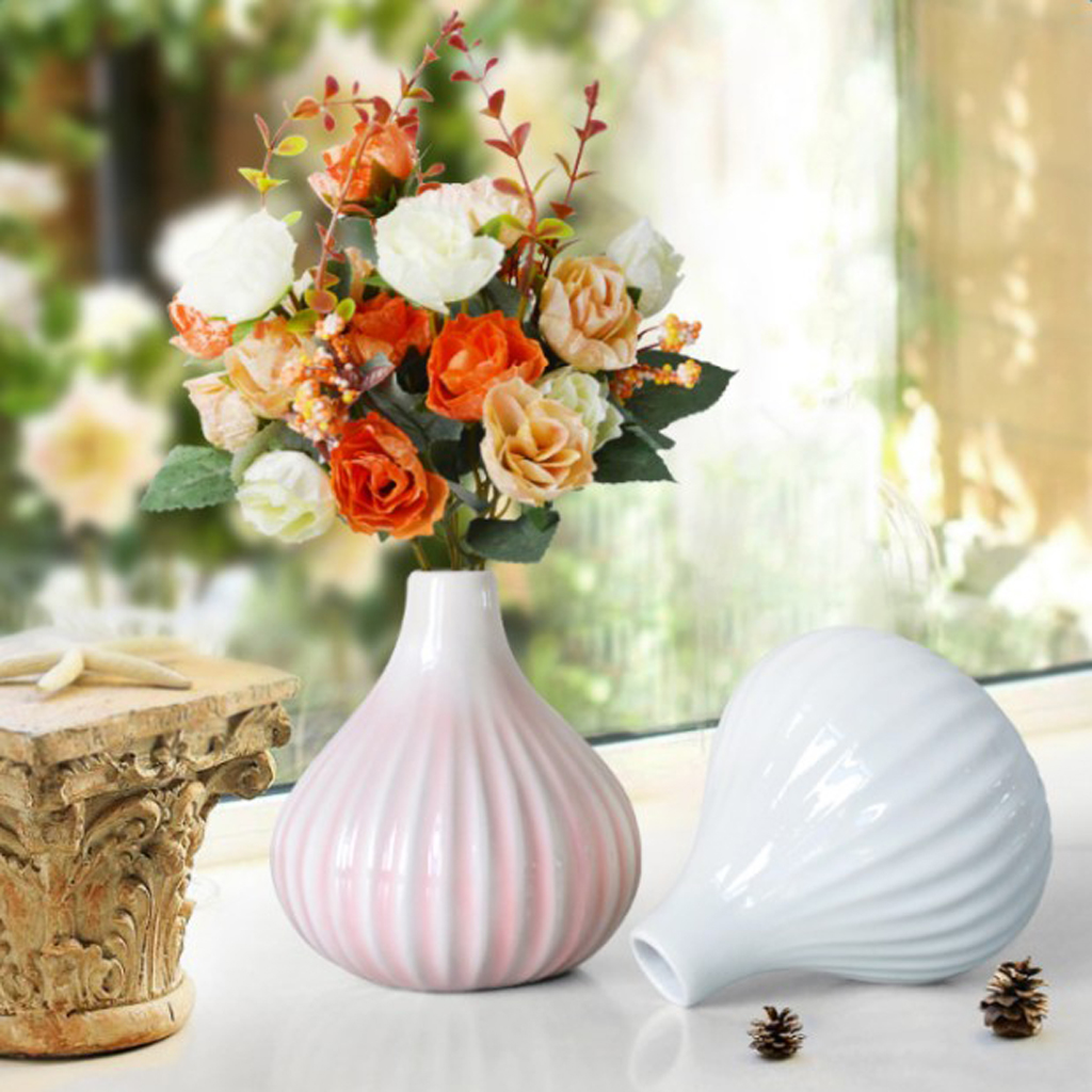 Durable Garden Resin Classic Stripe Flower Pot Plant Office Table Vase S/M/L for Garden Home Creative Decoration