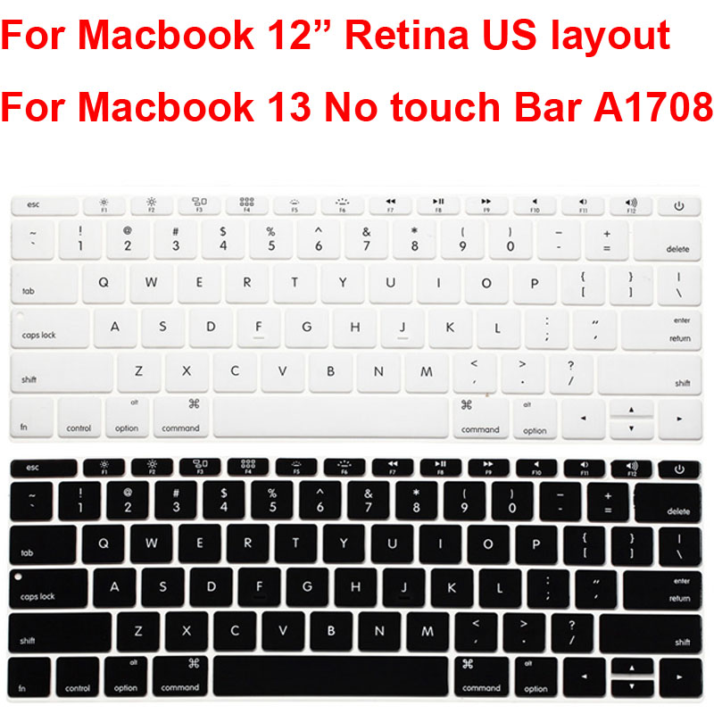 for MacBook Pro 13 A1708 for MacBook 12 A1534 Retina Us English Keyboard Cover Protector Skin-Silver 2017 Release No Touch Bar
