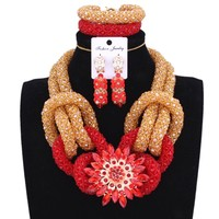 2018 Fashion Gold Red India Dubai Jewelry Sets For Women Owl Nigerian Bridal Necklace Set Costume African Wedding Jewelry Set