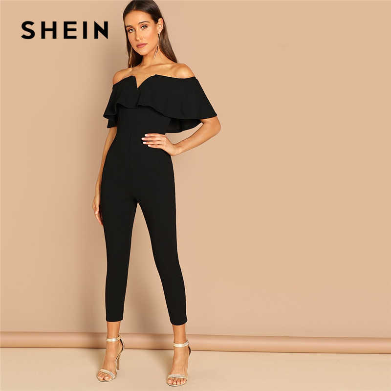 d07814bb322b SHEIN Black Elegant Office Lady Solid Off Shoulder Short Sleeve Ruffle  Skinny Jumpsuit Autumn Workwear Going