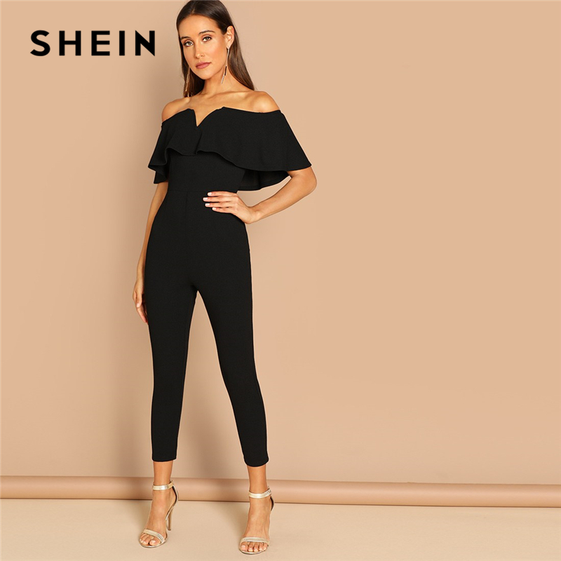 SHEIN Black Elegant Office Lady Solid Off Shoulder Short Sleeve Ruffle Skinny Jumpsuit Autumn Workwear Going Out Women Jumpsuits