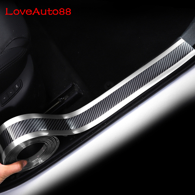 Car Accessories Car Sticker Carbon Fiber Door Sill Scuff Plate Guards Door Sills Protector For Volkswagen VW T Roc Troc